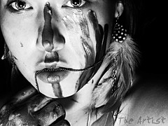 """As artists we are eternally heartbroken"" (Kaitlin Wilkinson Photography) Tags: camera light portrait woman white selfportrait black art girl up set lady self painting photography lights photo nikon paint artist acrylic tripod north quotes carolina kt kaitlin gaga quotations heartbroken ktw ladyg eternally"