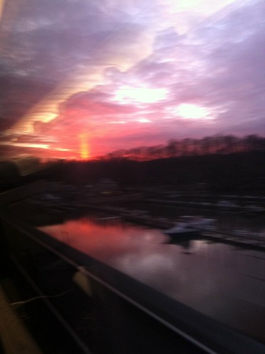 Red sky from southbound train