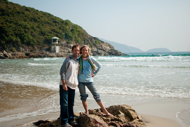 Bessie and Kyle at Big Wave Bay, Hong Kong