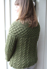 Kakariki cardigan (MiA Inspiration) Tags: green wool moss knitting buttons cables celtic knots cardigan kakariki handknitted stansborough mythral