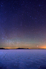 "Big Dipper Stars and meteor over Bonneville Salt Flats (IronRodArt - Royce Bair (""Star Shooter"")) Tags: sky night stars shower utah nightscape desert salt flats starry bonneville meteor shootingstars wendover bigdipper polaris northstar shootingstar bonnevillesaltflats constallation"