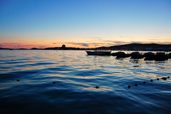 Vodice sunset (marin.tomic) Tags: travel blue sunset sea summer sun water silhouette night reflections lights boat nikon europe soft waves dusk croatia explore croazia croacia adriatic hrvatska kroatien vodice d40