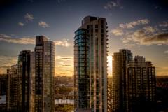 Setting Sun in Yaletown (rmaschak) Tags: sunset sky canada building vancouver canon eos rebel bc apartment yaletown falsecreek hdr 2012 photomatix 1855mmf3556 t1i