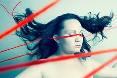 ((Sarah Robinson)) Tags: blue red woman girl hair fly eyes closed line flip string sarahrobinson followtheredline