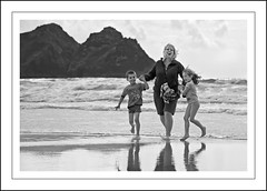 Happy Families (Fazer44) Tags: sea blackandwhite holiday water canon seaside rocks cornwall atlanticocean eos7d