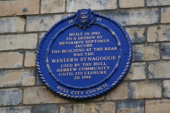 Photo of Benjamin Septimus Jacobs and Western Synagogue blue plaque