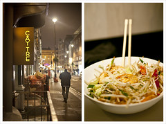 Cy Tre, Soho (Nada*) Tags: street food london lamp vegetables shop night restaurant healthy vietnamese place yum eating soho cucumber tasty prawns bowl vietnam chopsticks noodles shoots chilli goingout vietnameserestaurant deanstreet kingprawn bunsa caytre