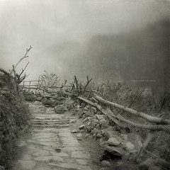 Chaos and the void (Weisimel) Tags: road nepal mountains monochrome fog stone clouds fence square t landscape wooden day chaos 5 foggy around mm disorder himalaya 18 circuit range annapurna himalayan pot distagon f35 himal zf 2011 chame kwadrat drewniany monochromatyczne fencefriday naturegryhimalajetexturecarlzeiss18mmdistagontf3 artoffence distagont18mmf35zf