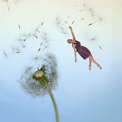 dandelion girl (A Broken Toy) Tags: flower photoshop canon whimsy funny dandelion redhead fantasy whimsical