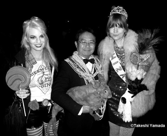 Seara (sea rabbit), Dr. Takeshi Yamada and beautifully costumed paraders at New Yorks Greenwich Village Halloween Parade in Manhattan, New York.  (October 31, 2011)   20111031 045, Black and White Photograph