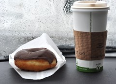 Dizzy Raised Chocolate Donut (Dr_Moriarty) Tags: food coffee breakfast colorado boulder donut doughnut pastry local dizzy pastries doughnuts dizzys ozo dizzysdonuts