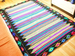 Retro Crochet Blanket (babukatorium) Tags: pink blue red orange black color green art lana wool yellow vintage rainbow colorful warm purple handmade turquoise teal oneofakind crochet violet retro blanket afghan hippie psychedelic arcobaleno bohemian manta multicolor striped bedspread whimsical darkblue mintgreen haken rhomb hkeln emeraldgreen croch coperta ganchillo fuxia uncinetto fattoamano lam copriletto  tii horgolt uvgreen babukatorium
