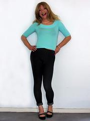 jeggings and pearls (gillian .) Tags: tv lace feminine cd blouse transgender mature tranny blonde transvestite heels crossdresser ts tg jeggings