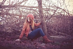 You're always on my mind; just here wasting time (ashleymarionphotography) Tags: park camera trees winter portrait me nature leather fashion self canon season outside photography woods backyard ashley jacket 7d dreamy dreamlike bambo boos
