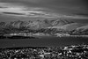 Winter in Tromsø - B&W (Ggranvik) Tags: city winter blackandwhite bw snow mountains norway by vinter twilight dusk nor fjell snø tromsø skumring troms landskap ginordicjan12 ginordicfeb12