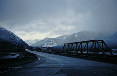 don't stop imagining (Intrepidation) Tags: trees sunset snow film 35mm carson landscape washington canona1 highway14
