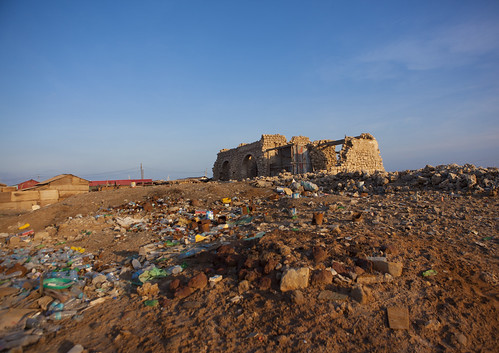 Zeila Old Buildings Ruins Destroyed During Civil War Wasteland Foreground Somaliland
