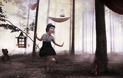 Finding Wonderland. (Monica Alagna) Tags: portrait woman fog forest self surreal cage monica fantasy curtains alagna