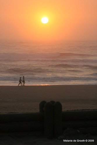 Couple Walking Beach Sunrise