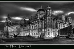 PIER HEAD (TERRY 101650) Tags: bw building architecture liverpool canon waterfront northwest cunard mersey pierhead merseyside liverbuilding ringexcellence flickrstruereflection1 flickrstruereflection2