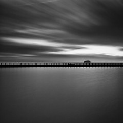 Walk on Water [EXPLORED] (Martin Mattocks (mjm383)) Tags: longexposure sky blackandwhite seascape reflection water canon island mono footbridge dusk explore westonsupermare cornwalllandscapes mjm383 martinmattocksphotography