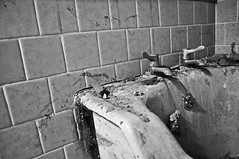 DSC_0316z (JackDWelch) Tags: shadow blackandwhite abandoned contrast bath decay highcontrast tiles mold debri