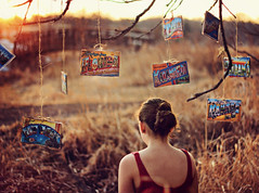and I loved you every mile you drove away (AmyJanelle) Tags: lighting bridge light red orange tree girl field yellow dof postcard branches postcards treebranches bun goldenhour redshirt turnedaway warmtones