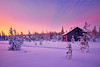 Under a fiery sky (Thierry Hennet) Tags: morning blue winter orange house snow tree zeiss landscape dawn frozen finnland sony scenic magenta lapland cloudysky äkäslompolo a900 coldtemperature cz1635mmf28