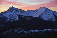 Castle Peak Sunrise (justb) Tags: park pink justin trees winter sunset red orange brown mountain snow mountains castle beautiful forest sunrise canon landscape hope colorful bc snowy north cascades range picket manning ridges provincial justb 40d