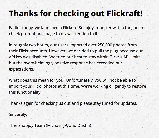 Flickr Disables Snapjoys Flickraft API Key