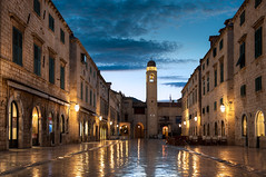 The Dubrovnik Stradun - (Croatia) (blame_the_monkey) Tags: travel architecture sunrise croatia bluehour portfolio placa dubrovnik dri hdr oldcity adriatic stradun digitalblending marblestradun
