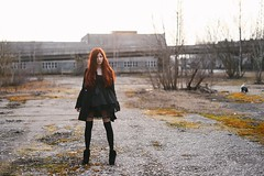 Mila (Pavels Dunaicevs) Tags: street city sunset red portrait urban anime color abandoned girl hair evening spring industrial factory post empty fake style latvia user soviet area positive riga wasteland teika