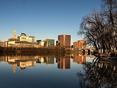 Hartford Skyline, Winter Morning (PJD-DigiPic) Tags: blue buildings reflections connecticutriver hartfordconnecticut wintermorning lumixcamera pjddigipic panasonidcdmcgh3