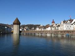 Luzern / Lucerne, Switzerland (swissbert) Tags: tower tourism switzerland suisse outdoor luzern sunny lucerne wasserturm vierwaldstttersee publicdomain chapelbridge lakelucerne kapellbrcke cc0