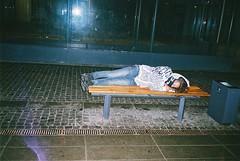 bench (subway rat) Tags: sleeping man film station night drunk wasted analog 35mm copenhagen denmark saturday ishootfilm filmcamera danmark mjuii analogphotography kbenhavn fever filmphotography flintholm mju2 olympusmjuii shootfilm filmisnotdead mjuii filmforever dmparadies400 copenhagenstreetphotography