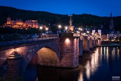 Heidelberg Blue Hour (davidgevert) Tags: longexposure nightphotography bridge germany twilight d750 bluehour heidelberg leadinglines travelphotography neckarriver heidelbergcastle altebrcke europeantown nikon2470mmf28 davidgevert gevertphotography nikond750 bluehourcityscape