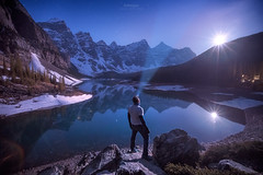 'Bowlegged Moonset' - Moraine Lake, Banff National Park (Gavin Hardcastle - Fototripper) Tags: park moon lake mountains reflections stars national astrophotography valley ten banff headlamp peaks moonset moraine selfie gavinhardcastle fototripper