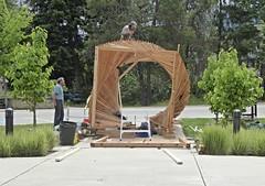 Working on 'Sculpture Walk' (arrowlakelass) Tags: sculpture canada bc pergola castlegar 2016 sculpturewalk christopherpetersen p1000211 springshine hanswinter