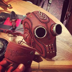 Another happy customer. We love our job! #Facemask, #Cyberpunk, #CyberGoth, #goggles, #cybergothgirl, #punkgirl, #cyberpunkgirl, #postapocalyptic, #postapocalypse, #black, #steampunk, #steampunkmask, #leathermask, #handmade, #LARP, #plaguedoctor, #plagued (tovlade) Tags: black girl face make up leather punk hand mask goth goggles made doctor cyber cybergoth cyberpunk plague larp steampunk postapocalyptic postapocalypse dieselpunk