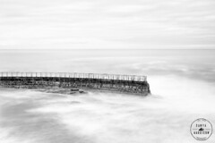 La Jolla Children's Pool Seawall (Tanya Harrison) Tags: longexposure blackandwhite bw water monochrome sandiego lajolla seawall pacificocean highkey childrenspool nd110 fujix100