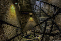 Down and Up (BrianMoranHDR) Tags: sanantonio photography lights texas parkinggarage stairwell creepy fisheye hdr urbex stiars satx mysa hdrsoft topazlabs niksoftware visitsa canon5dmarkii crowneplazahotelriverwalk viveza2 adobephotoshopcs5extended denoise5 silverefexpro2 photomatixpro41 colorefexpro4 canon815mmlfisheye 111pecanstreeteast