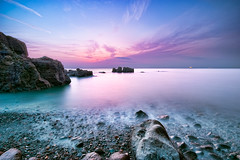 Odoi beach in 4:56PM [Explore] (-TommyTsutsui- [nextBlessing]) Tags: longexposure blue winter light sunset sea sky seascape green beach nature rock japan clouds landscape nikon purple dusk magic tide scenic wave shore       izu toi    sigma1020  onsalegettyimages