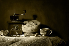 Autumnal Morning (Arunas S) Tags: morning autumn stilllife texture sepia stillleben coffeecup background stilleven stilleben monochromatic baltic klaipeda peugeot lithuania tabletop coffeemill naturemorte  naturamorta coffeegrinder naturalezamuerta coffeetime lietuva  naturezamorta klaipda autumnmorning   martwanatura asetelma natiurmortas natrmort klusdaba artcityart etamvitae