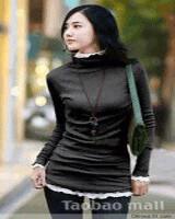 ~爆款~67263#66104 质量超好特惠花边双层高领假两件套打底衫 黑色-(韓版女裝批發-www.ef1688.com)