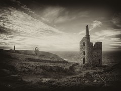 20111203_Botallack (keehotee) Tags: winter england sky bw cloud house heritage archaeology monochrome clouds pen landscape tin mono coast mine cornwall industrial engine olympus mining coastal hdr sincity cornish tinmine botallack enginehouse epl1