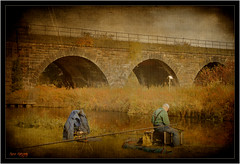 old timer (AppleCrypt) Tags: park old bridge england man texture sports river canal fishing fisherman cheshire sankey textured pasttimes stevegregory 180550mm borderfx mygearandme applecrypt wwwflickrcomphotosapplecrypt