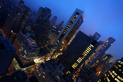 Manhattan Skyline (Nick Mulcock) Tags: park new york city nyc blue sunset sky building cars yellow fog skyline lights hotel town traffic dusk manhattan cab taxi central midtown le mid parker citicorp meridien trafic