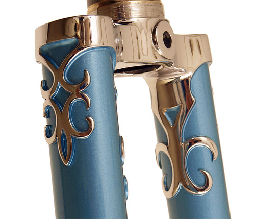 <p>Fork crown, stainless steel, for Waterford Nuevo-Coco Custom Lug, made of stainless steel with polished lugs and stays,  English Light Blue Met 61549</p>