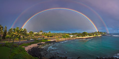 Double rainbow!! (blupic) Tags: sea storm beach rain hawaii bay rainbow fishing nikon turtle double snorkeling kauai poipu d90 hoai