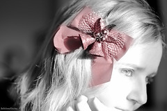 196/365 (BethAnneFletcher) Tags: christmas red portrait blackandwhite me self bow ribbon project365